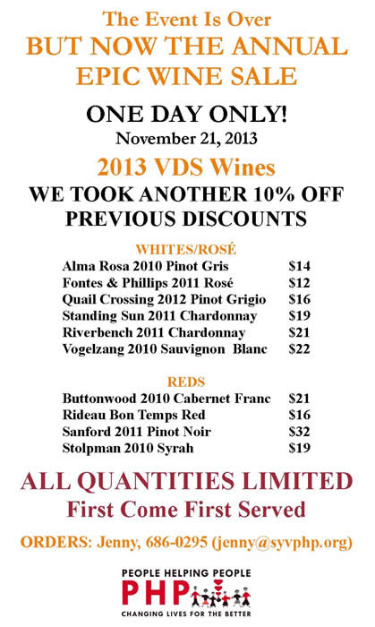 Evite 2013 Nov- One Day Wine Sale