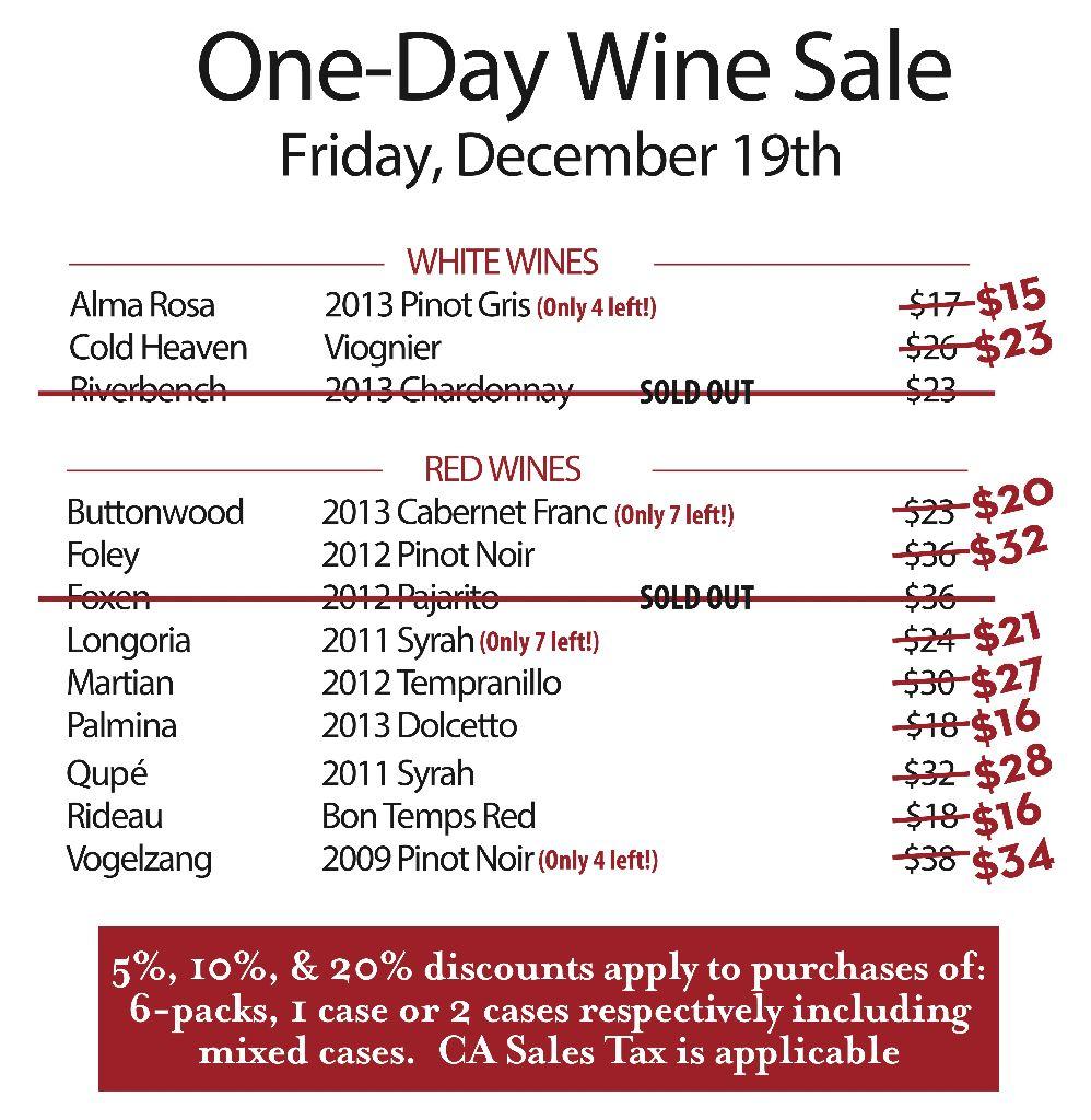 VDS One Day Wine Sale December 19 website